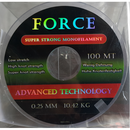 FORCE 100 METRE BEYAZ 0.18- 0.45 mm arası force carp  MONOFLAMENT  6.320 GR  ÇEKERLİ MİSİNA  -58-134